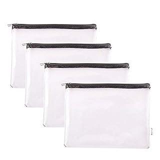 Augbunny Zipper Clear Vinyl Security Bank Deposit Utility Zipper Coin Bag Check Wallet Money Organizer pouch 4-pack