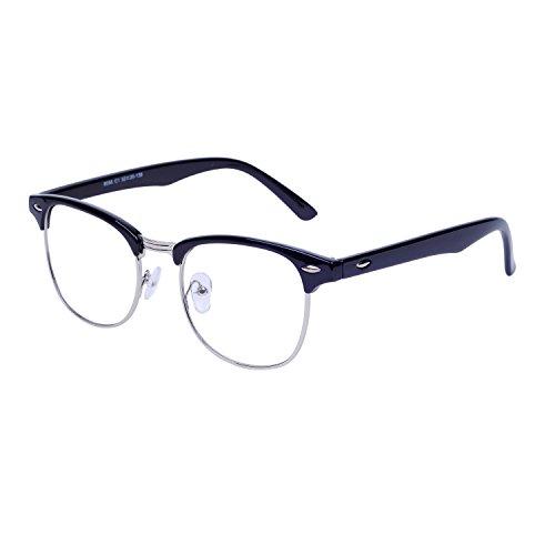 JoXiGo Herren Damen Retro Nerd Brille Halbrahmen Hornbrille Ohne Stärke Klare Linse mit Etui