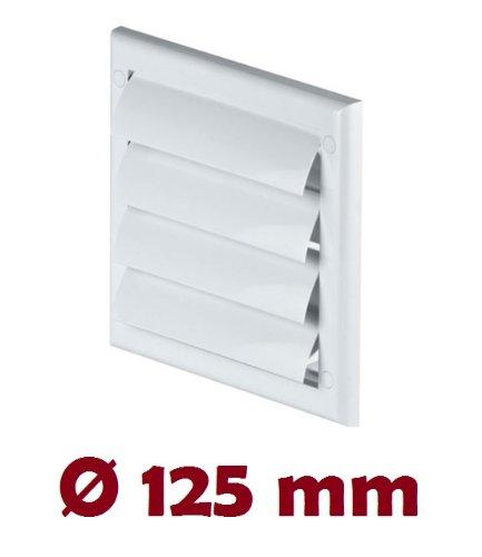 Preisvergleich Produktbild Lüftungsgitter mit beweglichen Lamellen Jalousie Abschlussgitter Rückstauklappe Verschlussklappe weiß Ø 125 mm TN4