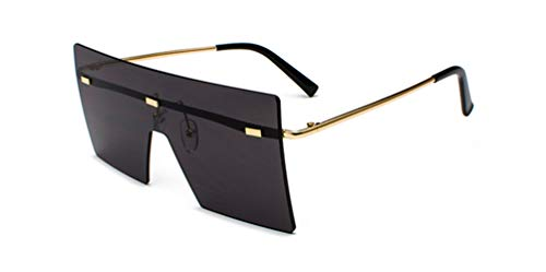 HUWAIYUNDONG Sonnenbrillen, Fashion Square Sunglasses Men Women Vintage Oversized Rimless Mirror Design Eyewear Shades Gold W Black