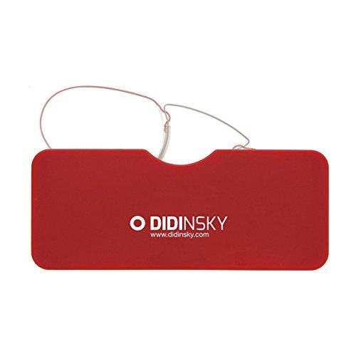 DIDINSKY Lesebrille für damen und herren transparent. Kompakte leichte randlose brillen. Brillengestelle für damen und herren. Lesehilfe Retro. 4 Farben und 5 Abstufungen - LOUVRE (Rot, 1.5)