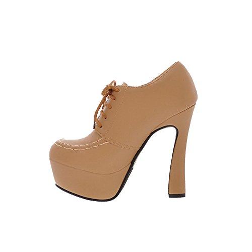 VogueZone009 Donna Allacciare Tacco Alto Tessuto Lucido Puro Alla Caviglia Stivali Cachi