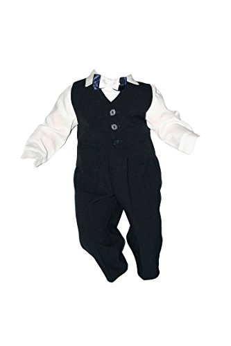 Taufanzug Baby Junge Kinder Kind Taufe Anzug Hochzeit Anzüge Festanzug, 4tlg , Marineblau-Weiß, Gr.74 K2