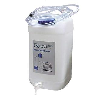 Q-Batteries Fallwasserbehälter 30l mit Auslaufhahn, Fließanzeiger mit Filter, Schlauch (4m) und Kupplung