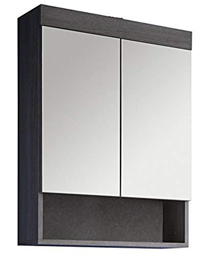 *trendteam smart living Badezimmer Spiegelschrank Spiegel Runner, 58 x 75 x 18 cm in Rauchsilber Dekor mit Ablage*