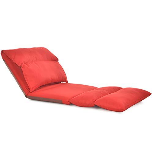 DULPLAY Falten Sofa Lounge Fußboden Stuhl, Verstellbar Stock-Sofa Entspannenden Stuhl Faltung futon Waschbar Lounge Chair Liegender Gaming-Rot 226x68cm(89x27inch) (Futon Sofa Und Stühlen)