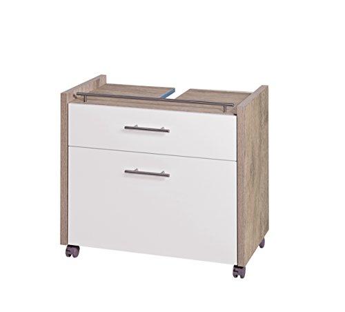 Schildmeyer Waschbeckenunterschrank 133073 Trient, 67 x 35 x 60.5 cm, weiß glanz / wildeiche Dekor -