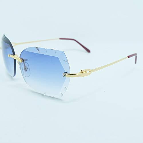 LKVNHP Hohe Qualität Randlose Sonnenbrille 3Mm Dicke Farbverlauf Blaue Linse Quadrat Markenname Kastanienbraun Holz Sonnenbrille Holz SchattenMetall Gold Braun