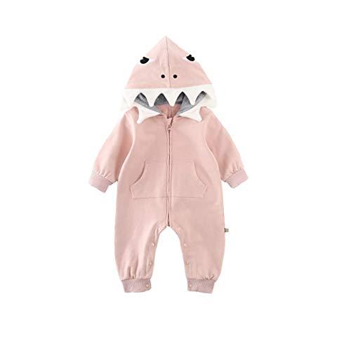 Strampler für Baby, Baby-Jungen-Mädchen-3D Karikatur-Haifisch-mit Kapuze Spielanzug-Overall-Einteiliger Reißverschluss-Aufstiegs-Kleidung -