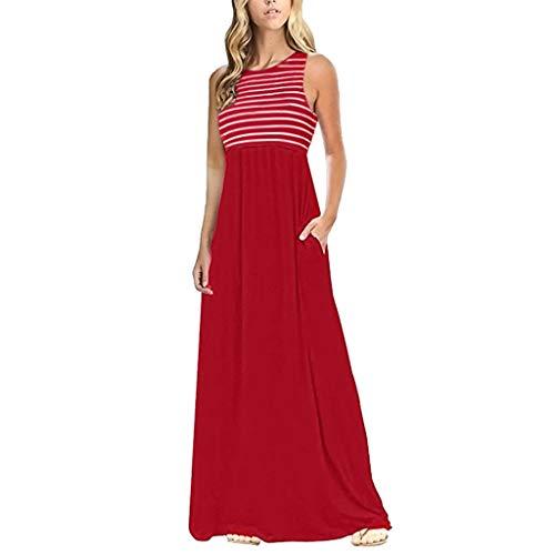 Zegeey Damen Kleid Sommer Kurzarm Rundhals Einfarbig Blumenkleid Maxi Kleid A-Linie Kleider Vintage Elegant LäSsige Kleidung Basic Casual Strandkleider (W9-Rot,EU-40/CN-L)