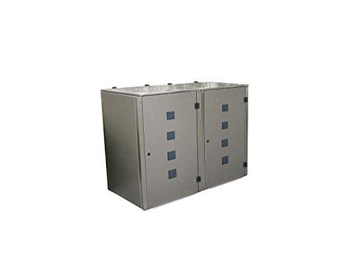 Mülltonnenbox Edelstahl, Modell Eleganza Quad, 120 Liter als Zweierbox - 2