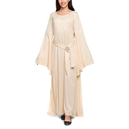 Herr der Ringe Arwen Damen Kostüm Elben Kleid mit Brosche 3tlg Fans Elbenwald beige - 40/42 (Frodo Kostüm)