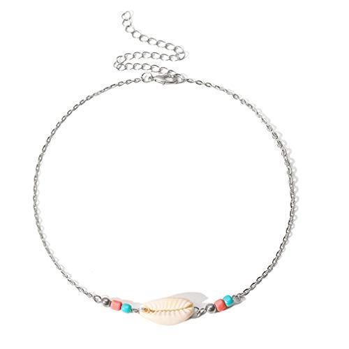 LLZIYAN Shell-Halskette, Perlen, Kette, Clavicular, Bohemian Strand, Schmuck, Zubehör für Frauen, Silber (Silber) - LLZIYAN -
