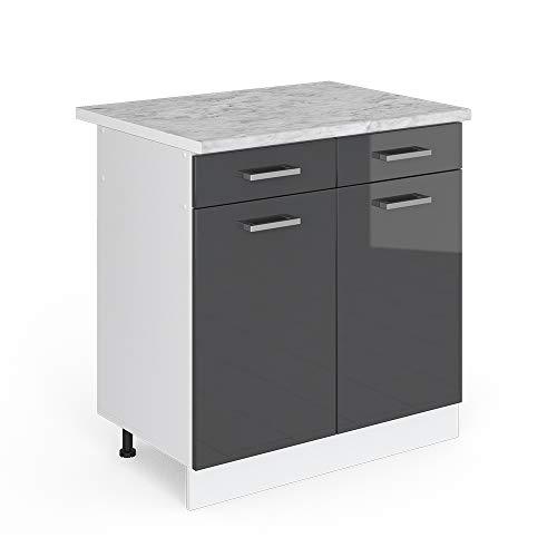 Vicco Küchenschrank R-Line Küchenzeile Hängeschrank Unterschrank Küchenschränke Küchenunterschrank Arbeitsplatte (anthrazit mit Arbeitsplatte, Schubunterschrank 80 cm)