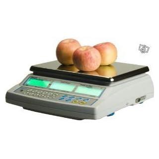 Preisberechnende Waage ohne Beleg, Gewicht 15 kg x 5 g, Waage für Handel oder Markt mit Zulassung (grüne Vignette für 2 Jahre)