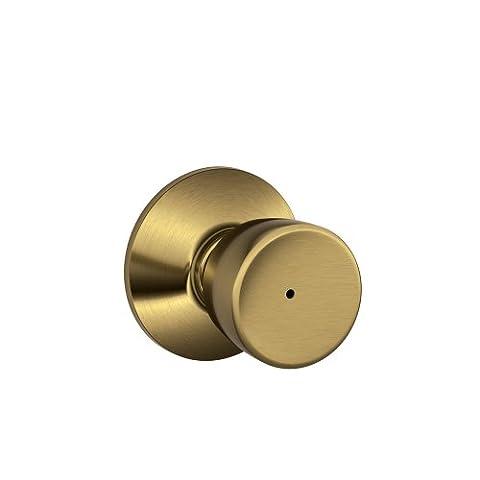 Schlage F40 BEL 609 16-080 10-027 Bell Bed and Bath Knob, Antique Brass by Schlage Lock Company (Brass Bell Hardware)