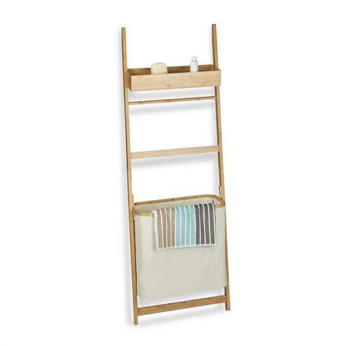 Relaxdays Leiterregal aus Bambus, Badregal mit 85 L Wäschebeutel, Handtuchhalter und Ablage, HxBxT: 180x61x29 cm, natur (Hing-badezimmer-schränke Wand)