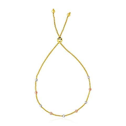 14K Tri-Color Gold Textured Bead Station Lariat Bracelet