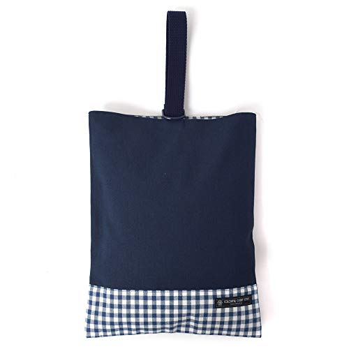 Shoes case put slippers, slipper bag reversible type checking large, dark blue, dark blue canvas x made in Japan (japan import)
