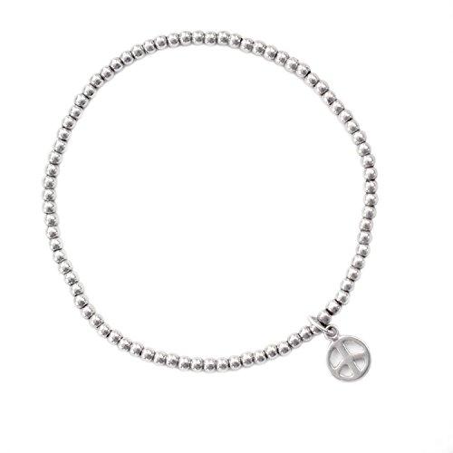 ee336ef6140b Beau Soleil Jewelry 925 Sterling Silber Schmuck Damen Armband  Stretcharmband mit Charm Anhänger Peace Symbolschmuck (