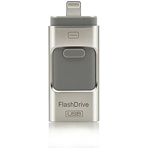 CYBERNOVA Flash Drive relámpago Memory Stick USB Flash de expansión de memoria USB con doble conector (/ Android / interfaz de iPhone USB) para el iPad computadora Mac y el iPhone 5 5S 5C 6 6 Plus, sistema Android, construido en imágenes / vídeos / archivo función de cifrado