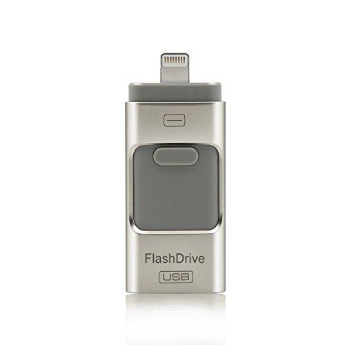 CYBERNOVA Flash Drive relámpago Memory Stick USB Flash de expansión de memoria USB con doble conector (/ Android / interfaz de iPhone USB) para el iPad computadora Mac y el iPhone 5 5S 5C 6 6 Plus, sistema Android, construido en imágenes / vídeos / archivo función de cifrado (32GB)