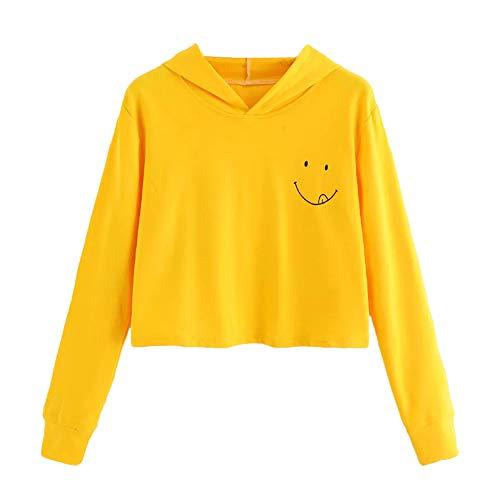 Yanhoo Damen Herbst Emoji Druck Lange Ärmel Hoodie Sweatshirt Kapuzen Pullover Tops Bluse