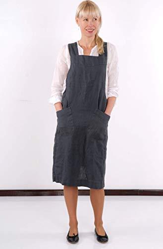 Decosinto 100% Leinen Schürzen Japanischen Stil, X Form Küche Kochen Kleidung, blau (Kochen, Kleidung)