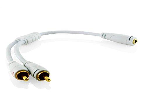Ivuna RCA männlich auf weiblich 3.5mm Klinke Analog Kabel - weiß, 0,2m - High performance Stereo Audio Adapter Kabel - für iPhone, iPod, MP3 auf Heimkino, Verstärker oder jedem anderen Gerät mit einem Audio output