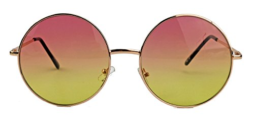 Oversized Lennon Style Damen Sonnenbrille im 60er 70er Jahre Hippie Style FARBWAHL LXL (Gold/Rosa Ombre)
