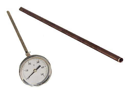 Termómetro para horno de leña hasta 500ºC con vaina de 50 CM