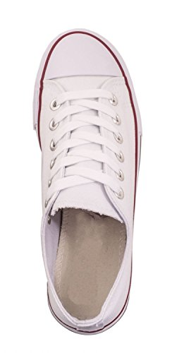Elara Unisex Sneaker | Bequeme Sportschuhe für Damen und Herren | Low Top Turnschuh Textil Schuhe Weiß