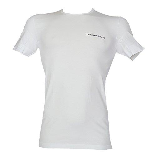 Trussardi t-shirt mezza manica girocollo uomo in cotone elasticizzato, bianco, s