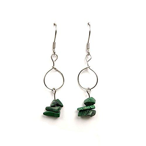 Schleifen von Ohren gemacht Hand Edelstein Malachit, Ohren grünen Stein Ohrringe, Edelstein, Juwel, Hand gemacht, grünen Malachit