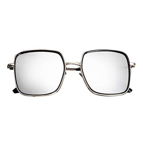 FeiliandaJJ Sonnenbrille für Damen Herren Polarisiert Verspiegelt Aviator Vintage Metall Brillenfassungen Unisex Sunglasses (Silber)