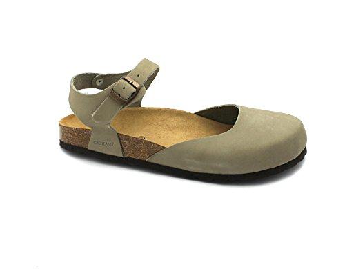 GRUNLAND SARA SB0002 grigio kaky sandali donna punta chiusa pelle birk Grigio