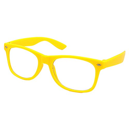 Nerd Brille Klarglas Geek Glasses Herren + Damen 80er Jahre Geek Fashion Brille (Gelb)
