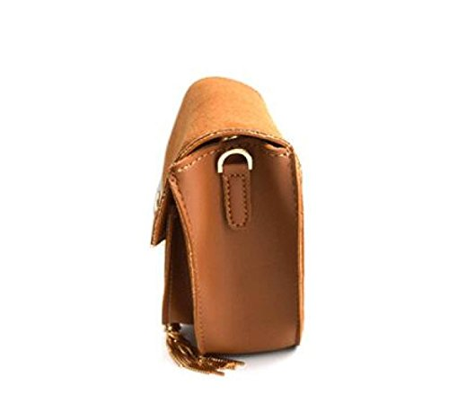 Mädchen Tassel Kleine Schulter Messenger Bag Mini Münze Geldbörsen PU Leder Handtaschen Geldbörse Brown