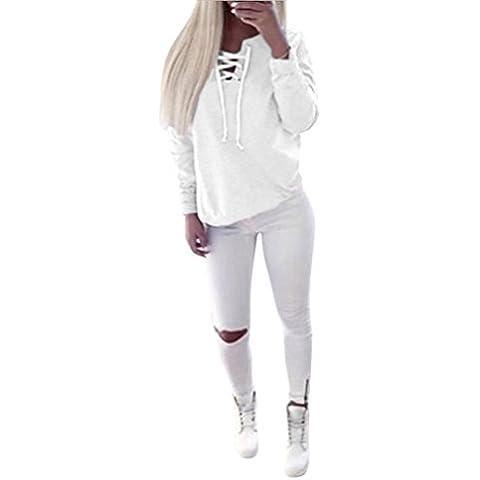 Fortan Donna Autunno manica lunga Pullover Lace-up supera la camicetta casuale T-shirt Sport