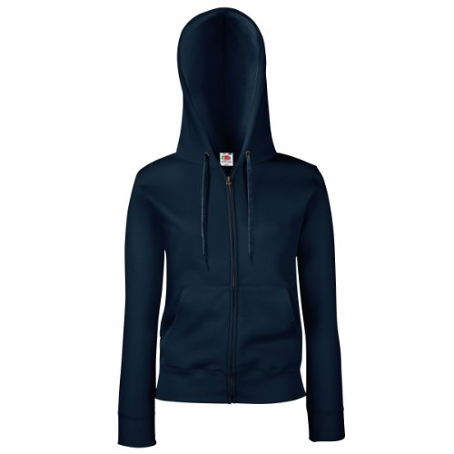 Fruit Of The Loom Lady-Fit Damen Kapuzenjacke / Sweatshirt-Jacke mit Kapuze M,Blau - Deep Navy Womens Hoodie Sweat