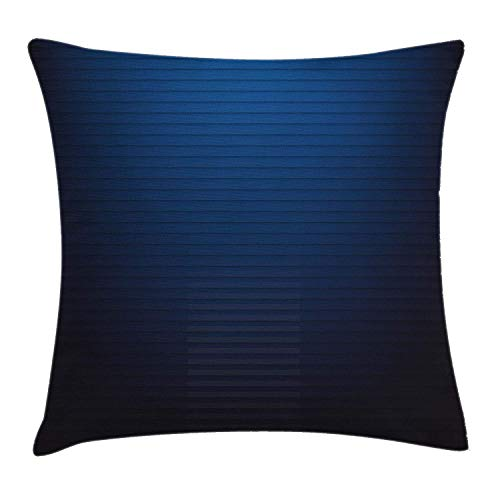 Shower Curtain Navy Throw Pillow Cushion Cover, Digital Stylized Horizontal Lines Ombre Effects Modern Urban Style Art Illustration, Decorative Square Accent Pillow Case, 18 X 18 Inches, Dark Blue