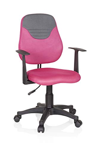 hjh OFFICE 670937 Kinder- und Jugenddrehstuhl KIDDY Style Stoff Pink/Grau Drehstuhl mitwachsend