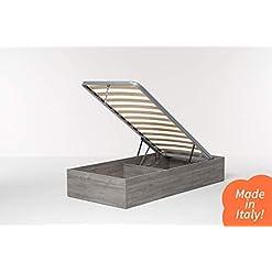 Cangù, Hi Box Letto Contenitore, Grigio, 90 x 190 cm, derivato del legno