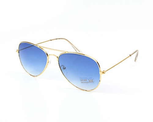 Aviator Style Sunglasses -Blue Lenses- UV400 Protection | Designer Unisex Shades