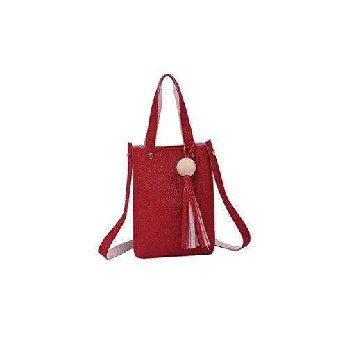Subfamily® Fashion Able Bag Vintage Handtasche Kleine Mini Messenger Quaste Schultertaschen Handytasche Dametasche Geschenke für Freundin, Frau, Geliebte und Freunde (rot)