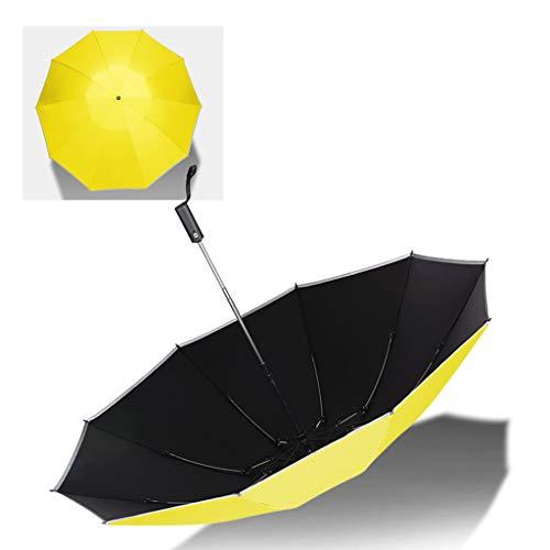 Haushalt Regenschirm Kreative Rückklappschirm Regenbogen Regenschirm Doppel Regenschirm Fünf Farben Optional WXFO (Farbe : Gelb) -