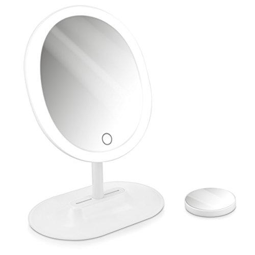 Navaris LED Kosmetikspiegel mit 10fach Vergrößerungsspiegel - Schminkspiegel Set Make Up Schmink Spiegel Standspiegel beleuchtet - in Weiß