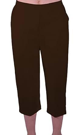 EyeCatch - Florida Ladies Capri Crop Shorts Pants Plus Sizes Womens 3/4 Cropped Trousers Brown Size 10