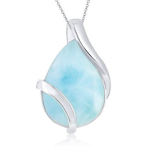 Sterling Silver Natural Larimar Pear-Shaped Designed 18″ Pendant Necklace
