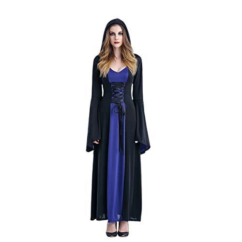 LHXHL Halloween Weiblicher Kleid Vampir Halloween Hexe Kostüm Party Teufel Umhang mit Kapuze Geistkostüm Parteikleid Leistungskleidung-Eine Größe (Kleid Halloween-kostüm Teufel Blaues)